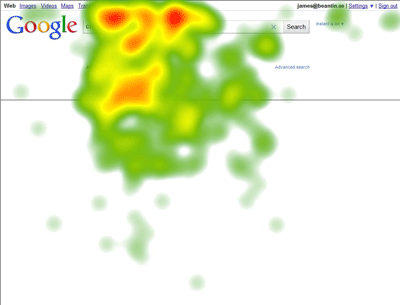 Google Instant Heat map showing concentration of fixations around the search box, suggestions, and first snippet