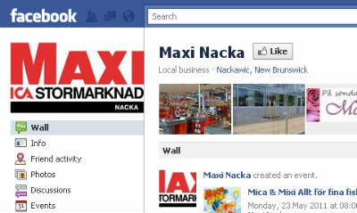 Screenshot of ICA Maxi Nacka's Facebook page