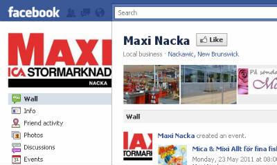 Screenshot of ICA Maxi Nacka's Facebook page