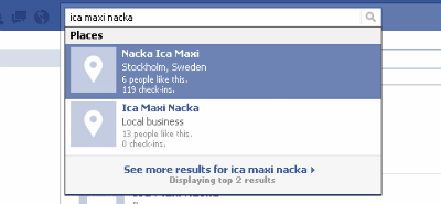 Screenshot from Facebook showing two search results