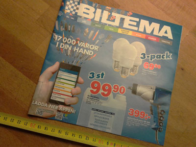 Biltema catalogue with QR codes