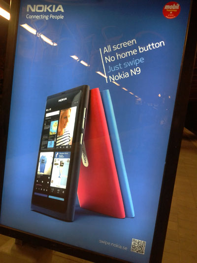Nokia N9 advert with QR code
