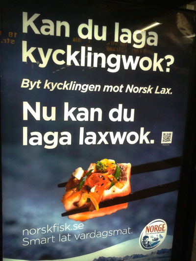 Norskfisk advert with QR code