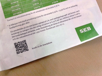 SEB advert with QR code