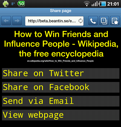 Screenshot of the share page taken on an Android tablet