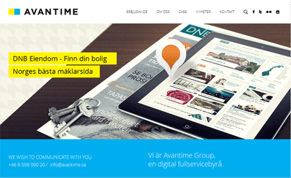 Screenshot of Avantime's website