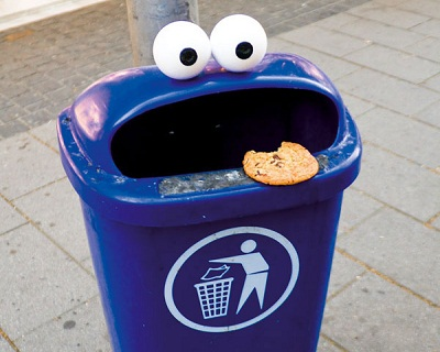 a bin that looks like Cookie Monster eating a cookie