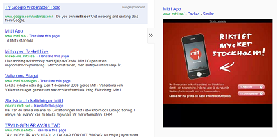 Screenshot of Google search results showing how badly mitti.se appears