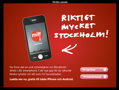 Screenshot of a replacement start page for mitti.se advertising their app