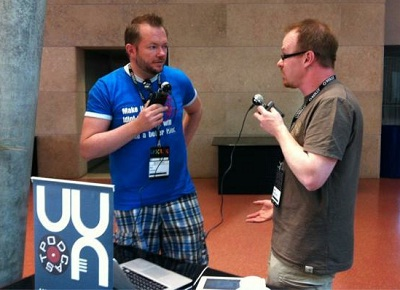 Per and James recording UX Podcast at UXLx 2012
