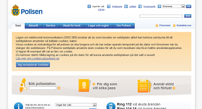 screenshot of polisen.se showing a large cookie opt in banner