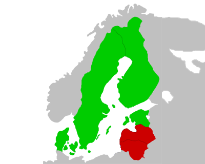 a map of of Scandinavia and The Baltics showing which countries require strict opt-in