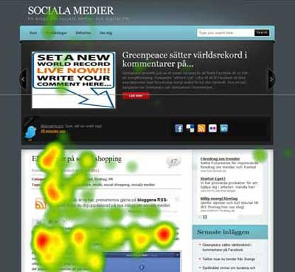 heat map from eye tracking test of a web page showing that people ignored the slider