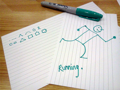 Sharpie, visual alphabet, drawing of a running man
