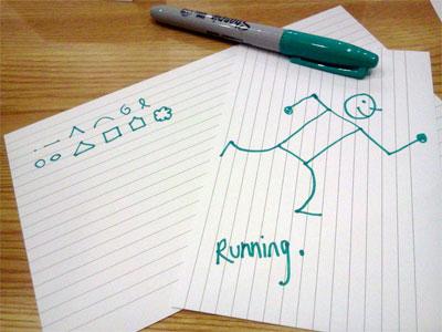 Sharpie, visual alphabet, drawing of a running man
