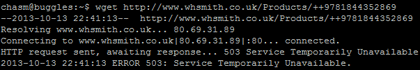 Command line screenshot confirming the 503 error response from WHSmiths website
