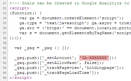 Screenshot of HTML code showing UA-XXXXXX as the Google Analytics account ID