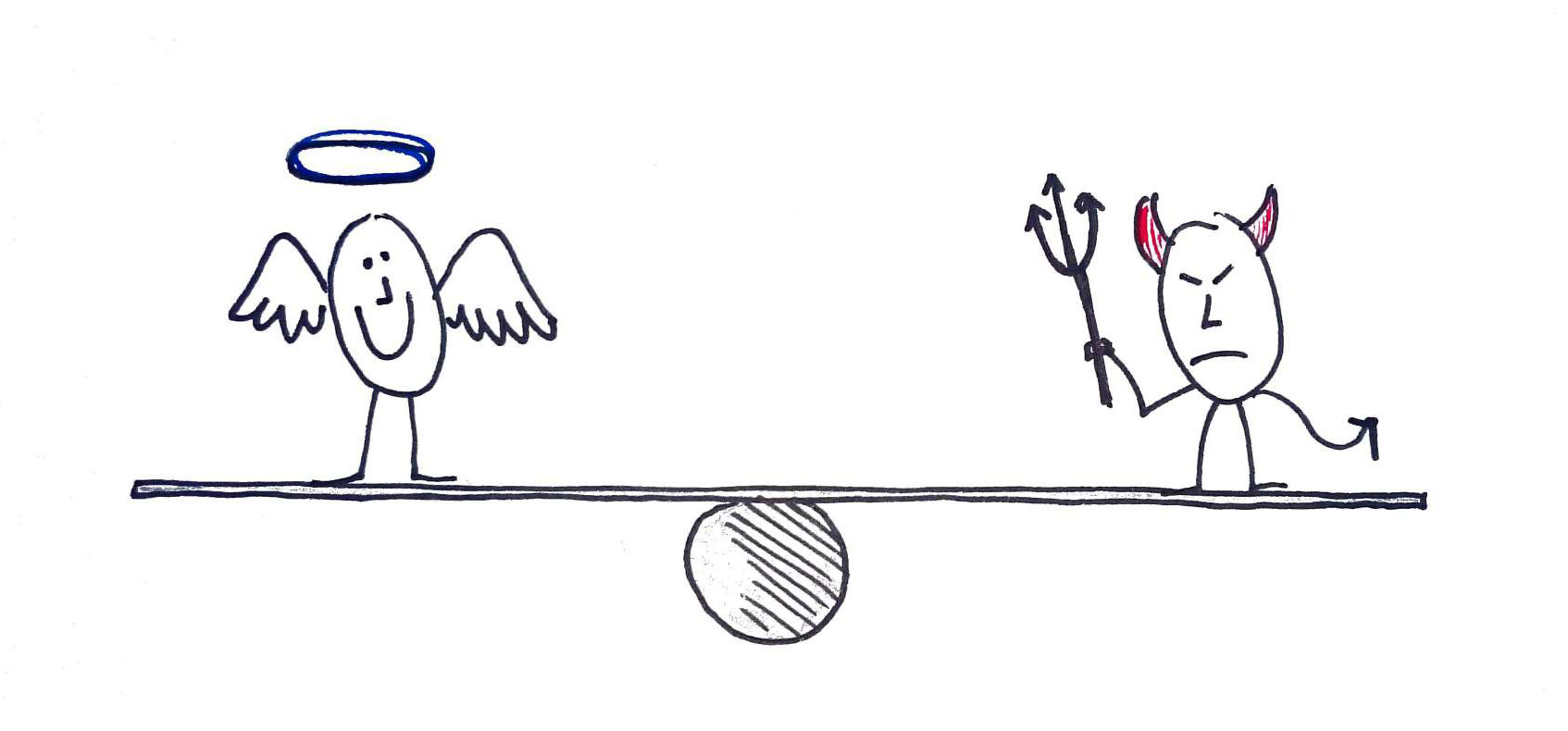 Cartoon drawing of an angel and a devil balanced on a see-saw