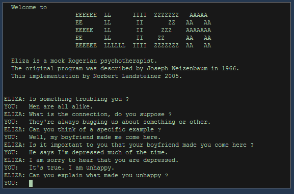 A screenshot of a conversation between a user and ELIZA