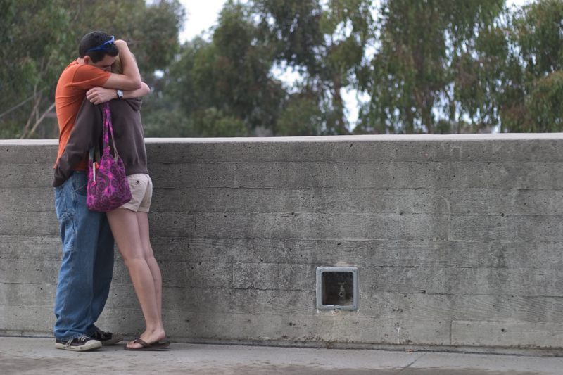A picture of a couple hugging